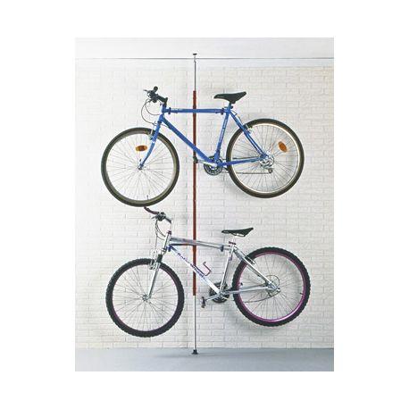 Soporte 2 bicis techo-suelo regulable